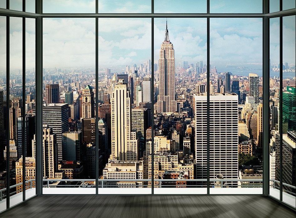 mural wallpaper 315x232cm new york penthouse view from window decor. Black Bedroom Furniture Sets. Home Design Ideas