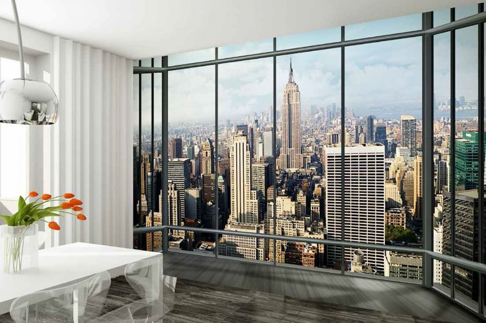 New york city view wall mural wallpaper online shop for Wallpaper home new york