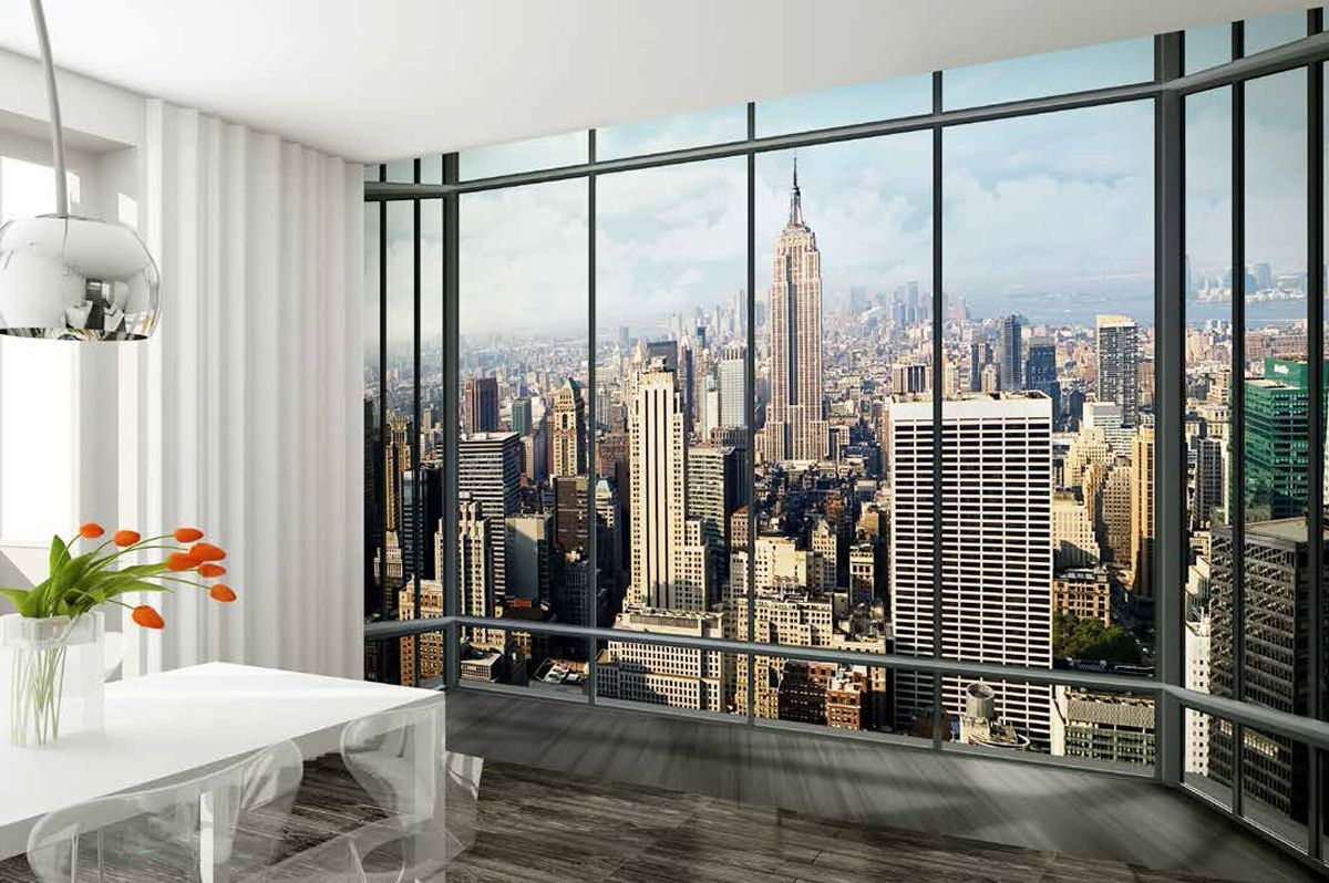 new york city view wall mural wallpaper online shop. Black Bedroom Furniture Sets. Home Design Ideas