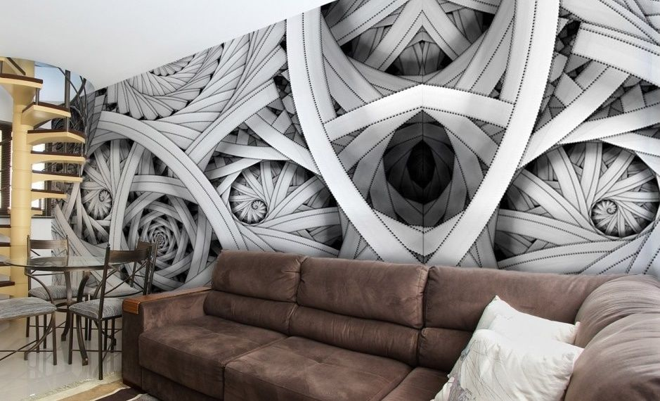 Black white abstract composition giant wall murals for Abstract mural designs