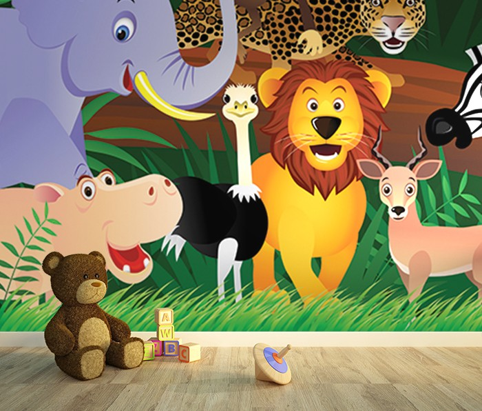 Jungle kids room wall murals for Animal wall mural