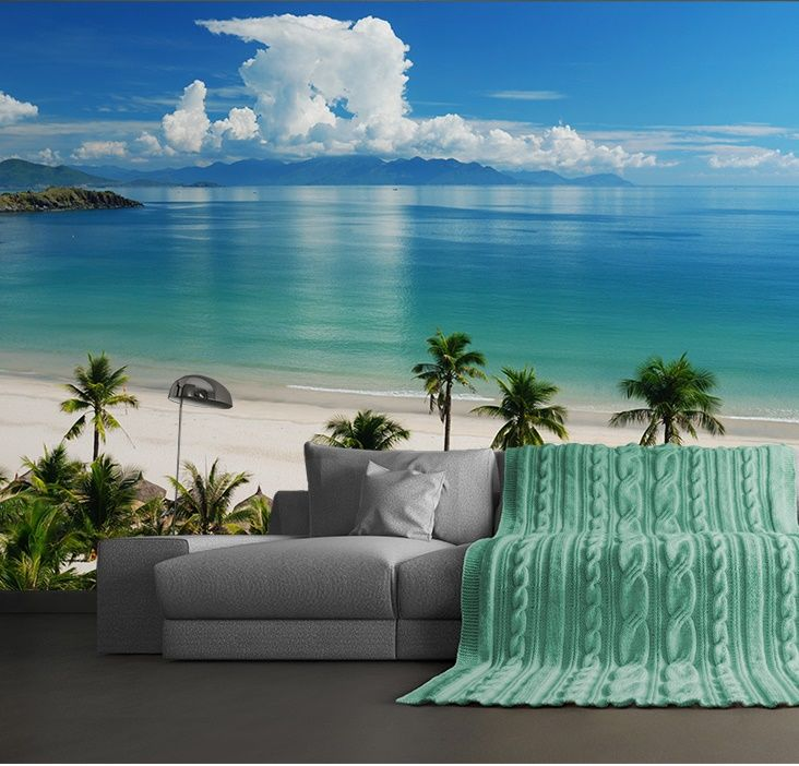 Wall mural wallpaper for bedroom living room beach for Beach scene mural wallpaper