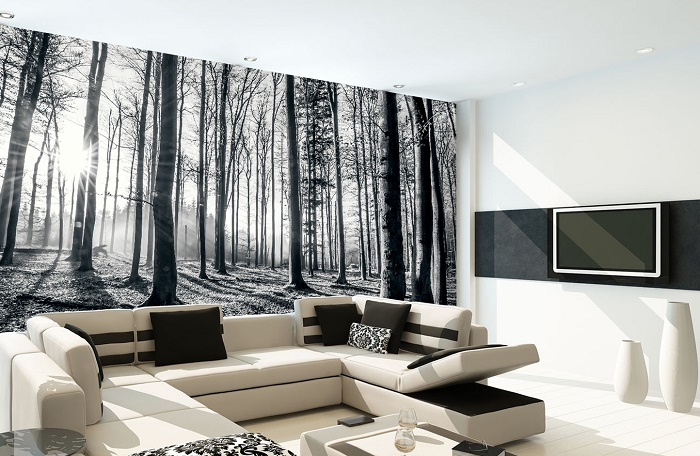 Black and white forest wallpaper murals online store for Black wall mural