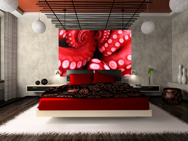 Home walls wallpapers red octopus for Bloody wall mural