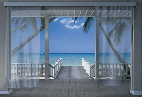 368x254cm giant wall mural wallpaper ocean view from villa for Beach view wall mural