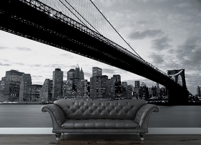 Brooklyn bridge view photo wall mural wallpaper online shop for Black wall mural