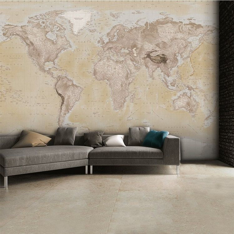 Brown map of the world wall mural wallpaper for Brown wallpaper for walls
