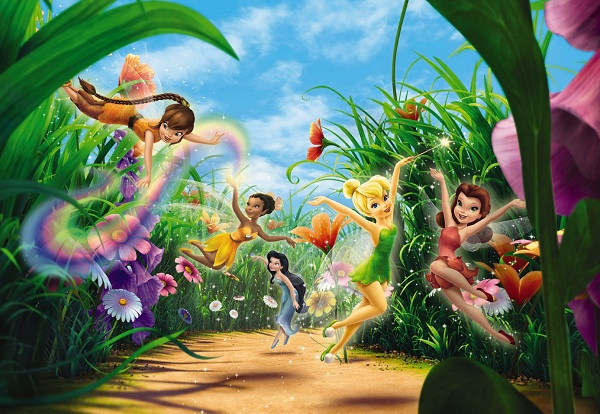 Fairies in the meadow disney wall mural for Disney fairies wall mural