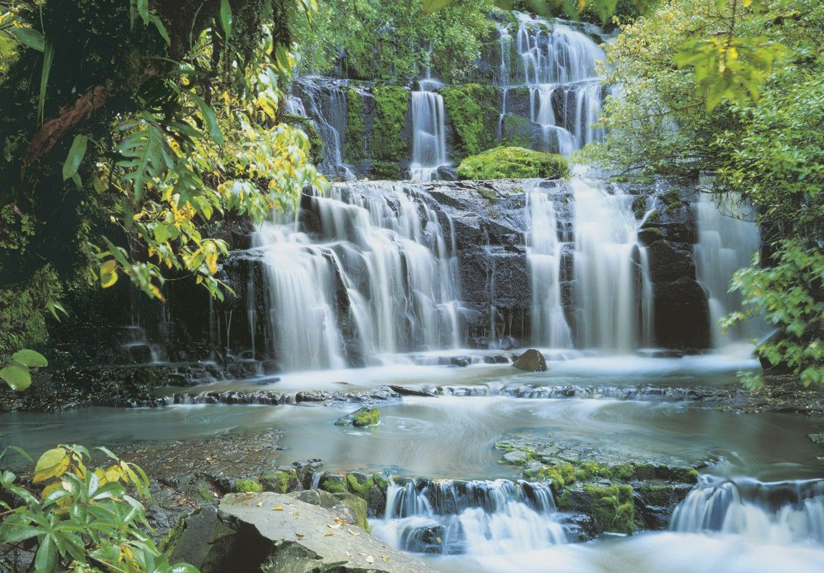 Falls in the forest wall mural wallpaper for Background mural