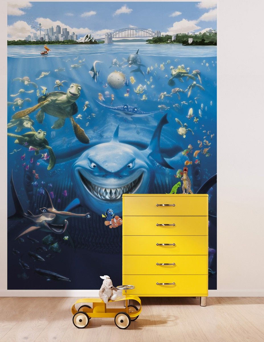Finding nemo disney wall mural wallpaper for Disney mural wallpaper