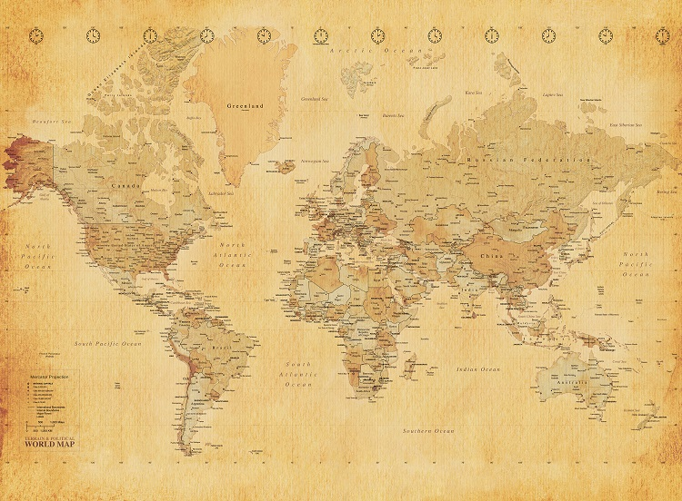 Old style vintage world map wallpaper wall mural 232m x 315m new old map wall mural similar wallpaper murals gumiabroncs Images