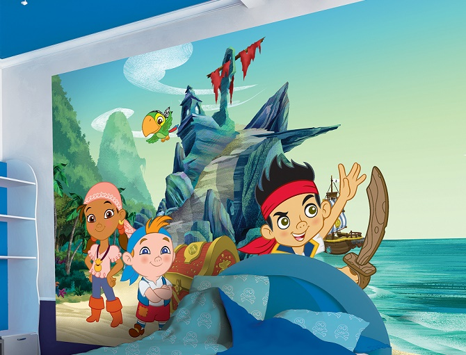 Disney jake pirate character wallpaper for boys girls room for Childrens pirate bedroom ideas