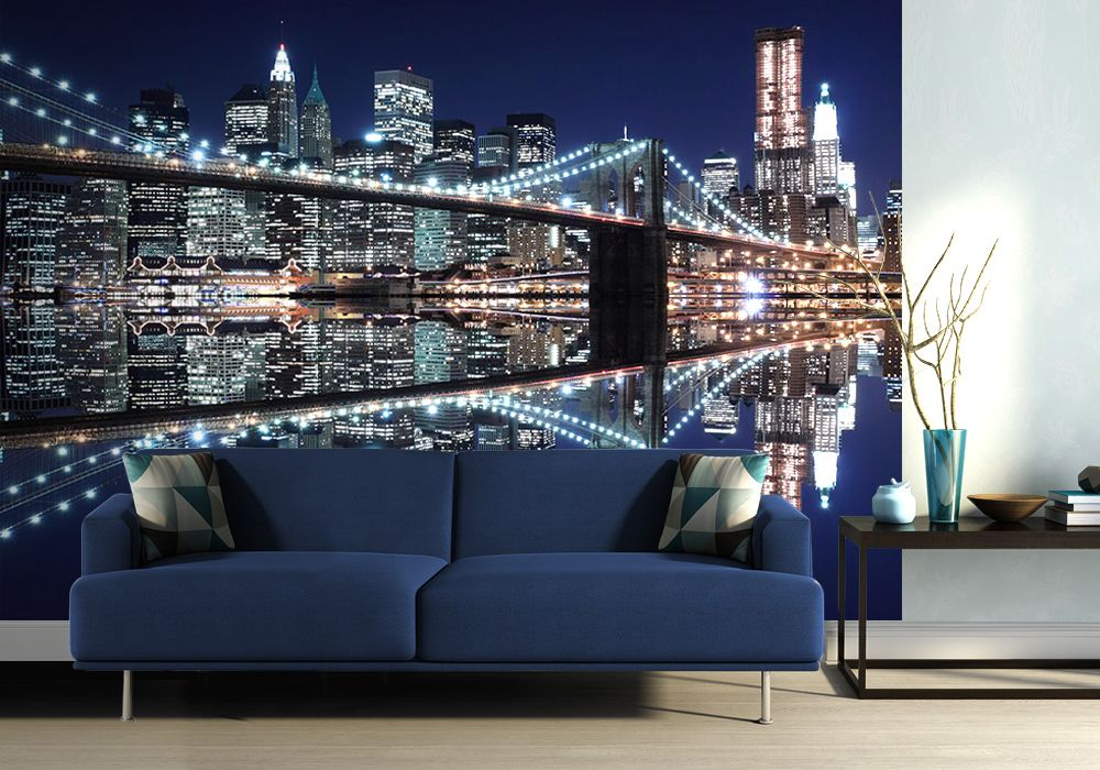 New york brooklyn bridge lights wallpaper murals shop online for Brooklyn bridge wallpaper mural