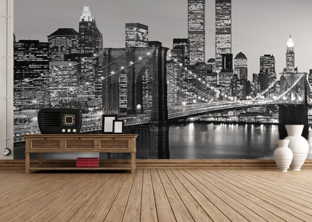 Wall mural brooklyn bridge photo wallpaper large size wall for Chicago skyline mural wallpaper