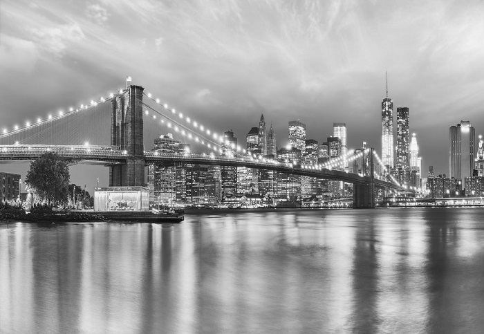 New York Cityscape B&w Wallpaper Mural