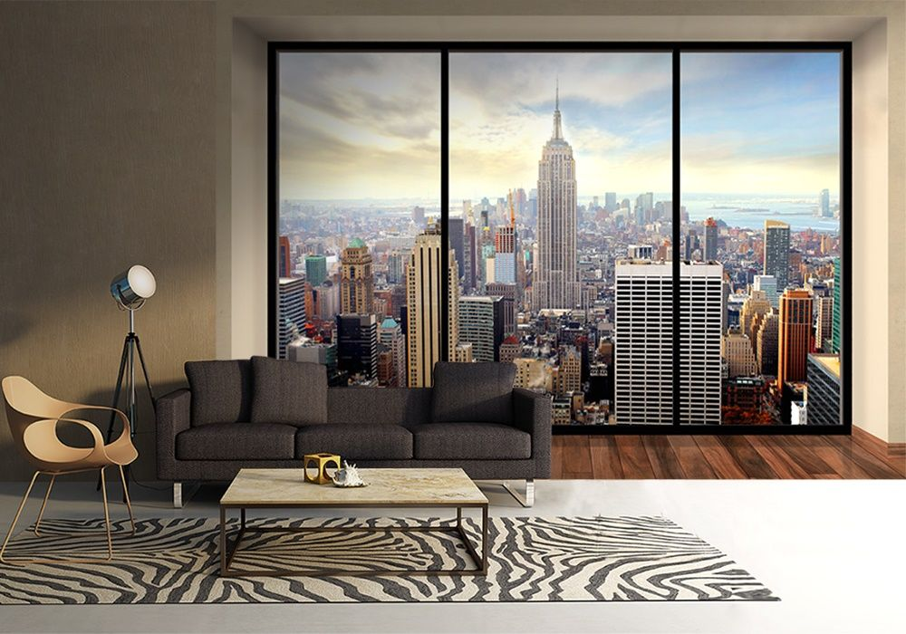 new york skyline penthouse wall mural buy at allwallpapers. Black Bedroom Furniture Sets. Home Design Ideas