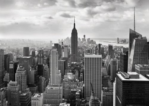 New york wall mural black and white wallpaper for Black and white new york mural wallpaper