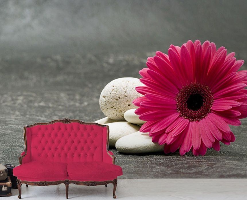 Pink gerbera flower wallpaper murals by homewallmurals - Flower wallpaper mural ...