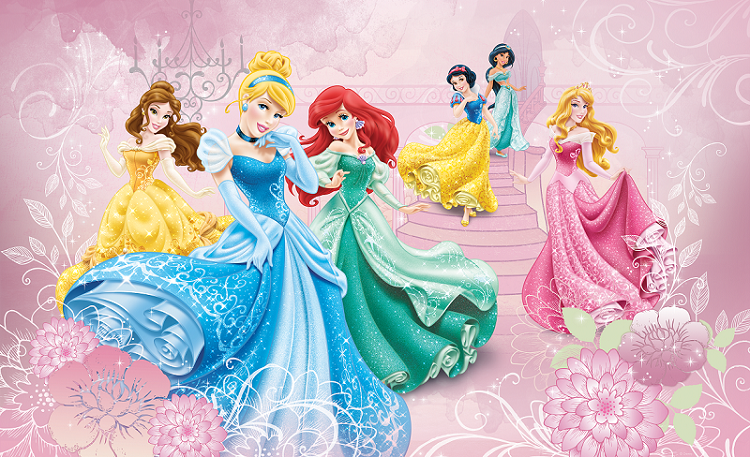 Childrens room wall mural photo wallpaper disney princess for Disney princess wall mural