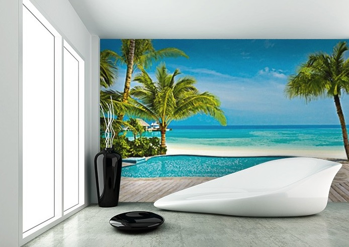 Pool on the beach wall mural for home walls for Beach mural for wall