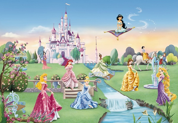 Princess castle disney wall mural for Disney princess wall mural