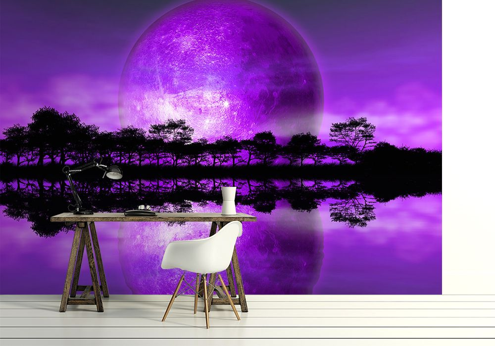 Rising Moon Quot Purple Planet Quot Wall Mural Online Store