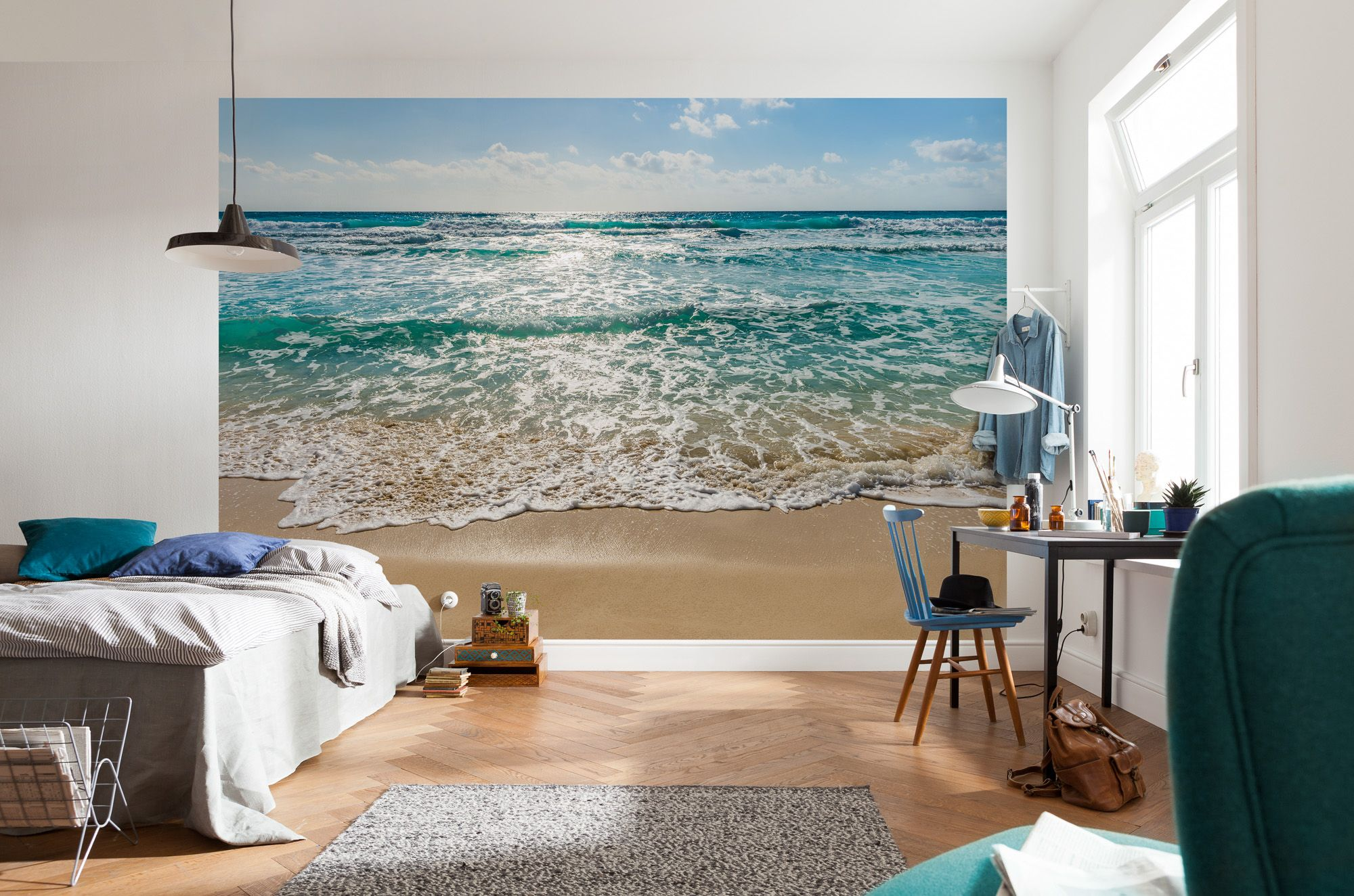 seaside beach scene paper wallpaper homewallmurals. Black Bedroom Furniture Sets. Home Design Ideas