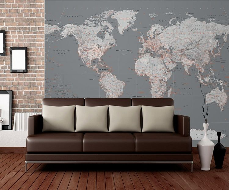 Silver world map wall mural wallpaper – Map World Mural