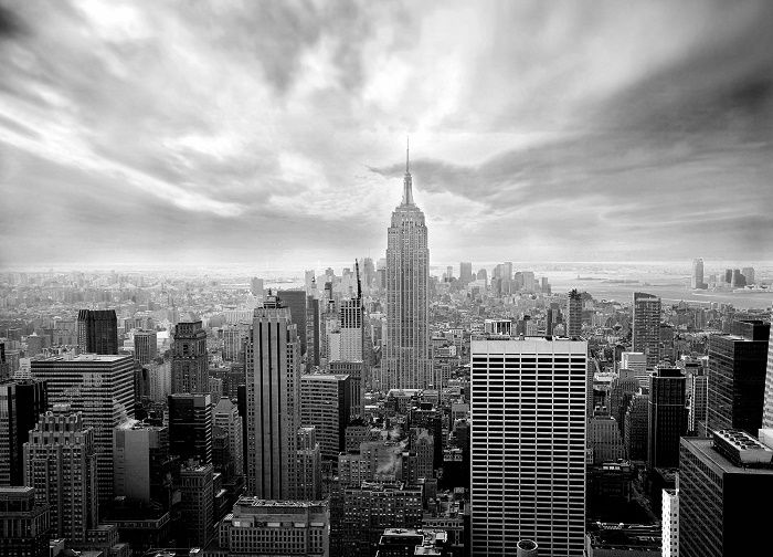 Skyline new york black white wallpaper murals by for Black and white new york mural wallpaper