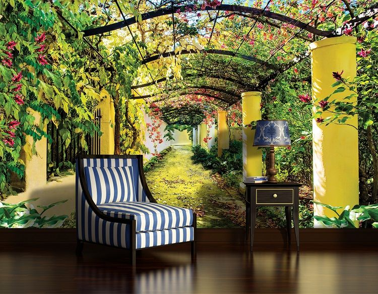 Summer garden wallpaper murals by for Mural wallpaper