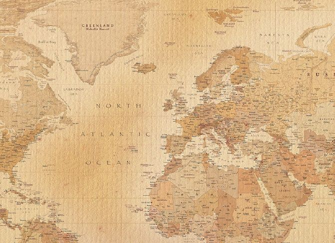 Vintage map of the world wall mural online store for Antique map wallpaper mural