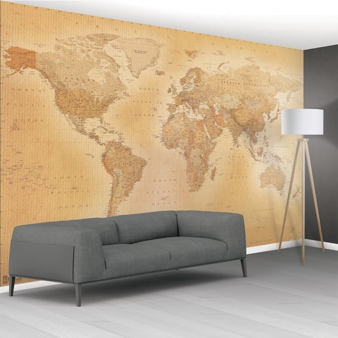 High Quality Vintage Map Of The World HQ Wall Mural