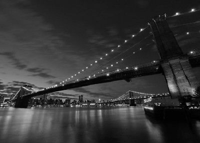 Wall mural photo wallpaper living room brooklyn bridge new for Brooklyn bridge black and white wall mural