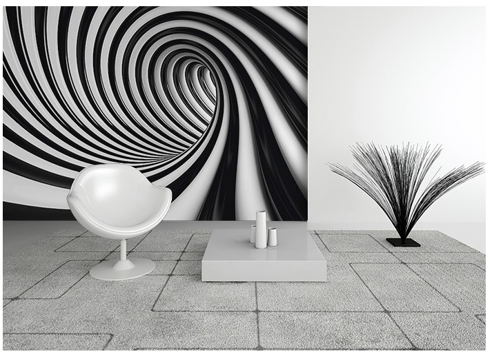 black and white home wallpaper swirl On black wall mural