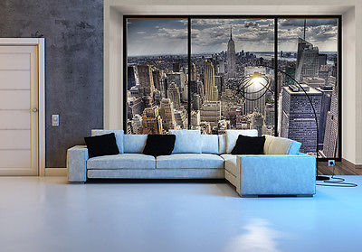 Wallpaper mural photo new york skyline wall decor paper for New york home decorations