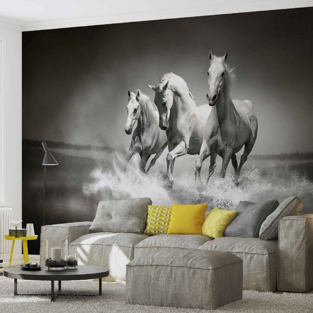 Nature scene wall murals for wall for Equestrian wall mural