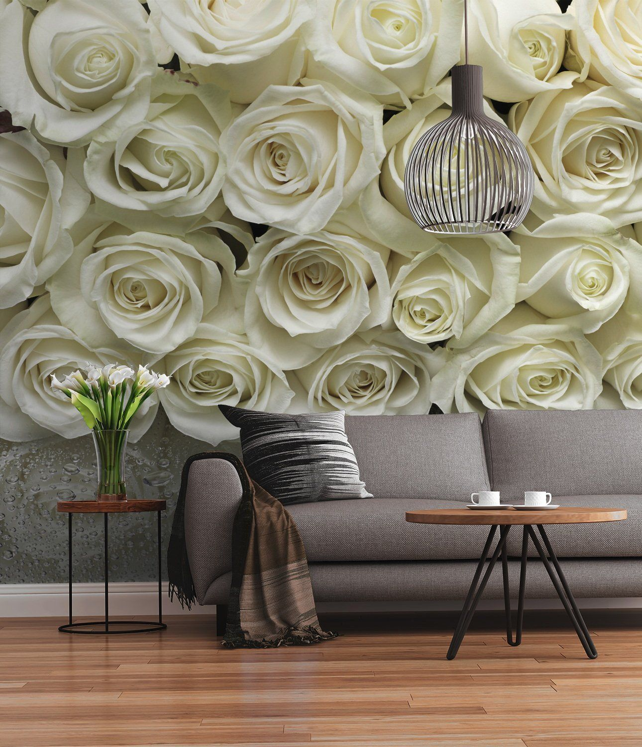 Wallpaper Wall Murals Uk White Roses Wall Mural For Wall