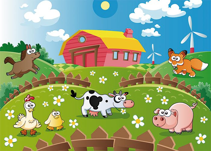 Animals farm wallpaper murals by homewallmurals for Barnyard wall mural