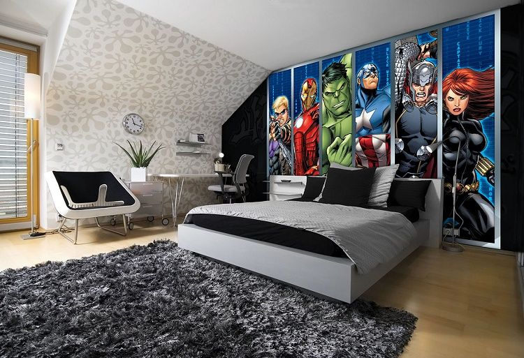Avengers boys bedroom wall murals for wall for Boys bedroom mural