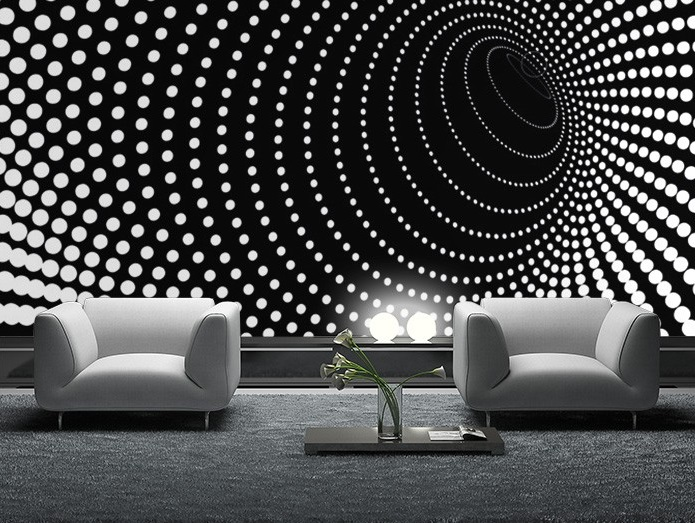 . Black twisted dots wall mural wallpaper