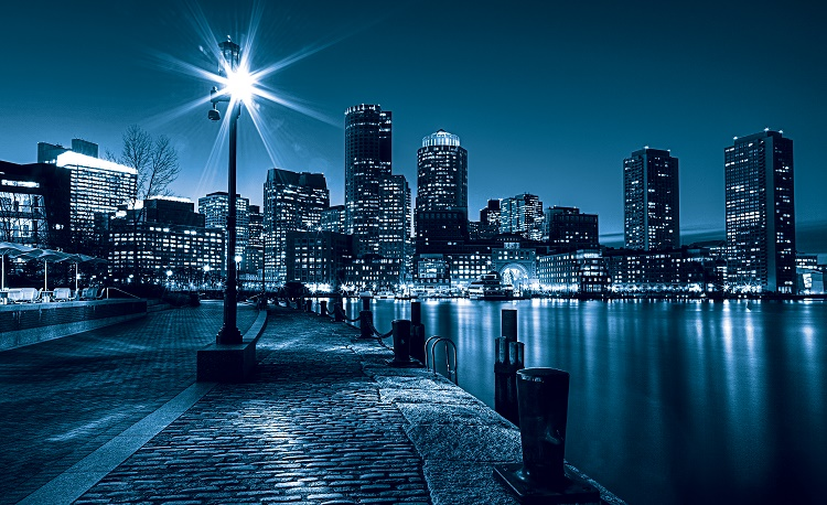 Blue city skyline at night wall mural for Black and white london mural wallpaper