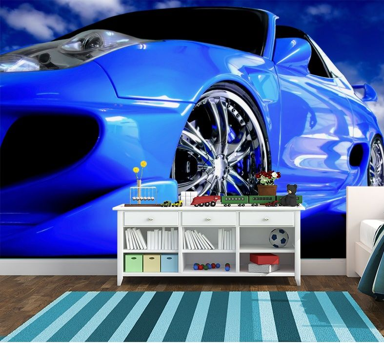 Blue super car wall murals Homewallmuralscouk