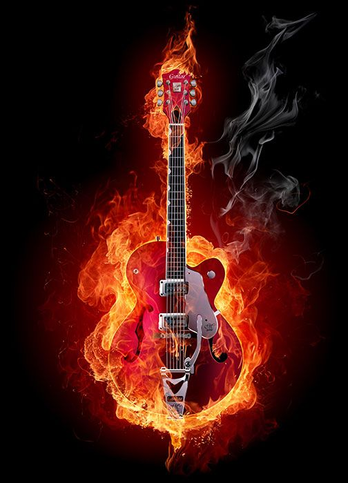 Burning red guitar wallpaper murals by Homewallmurals