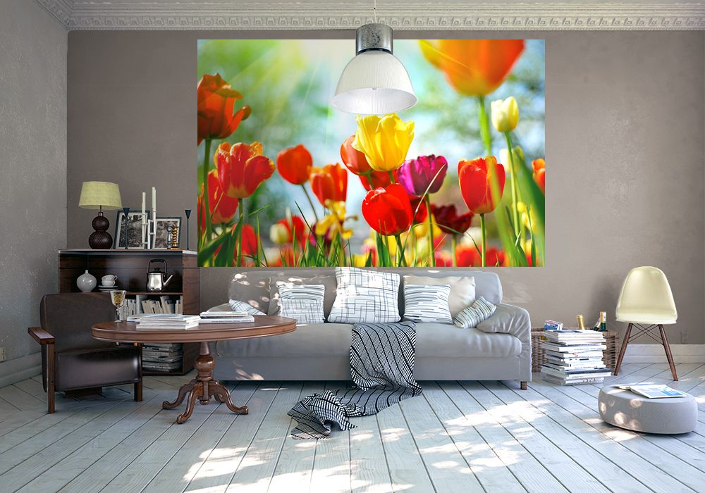 Colourful Spring Flowers Wall Mural Part 55