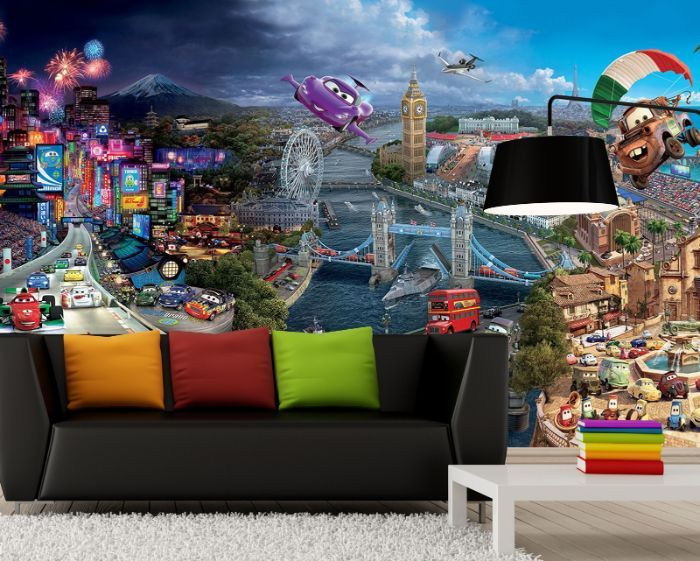 Wall murals for boys for Disney cars wall mural full wall huge