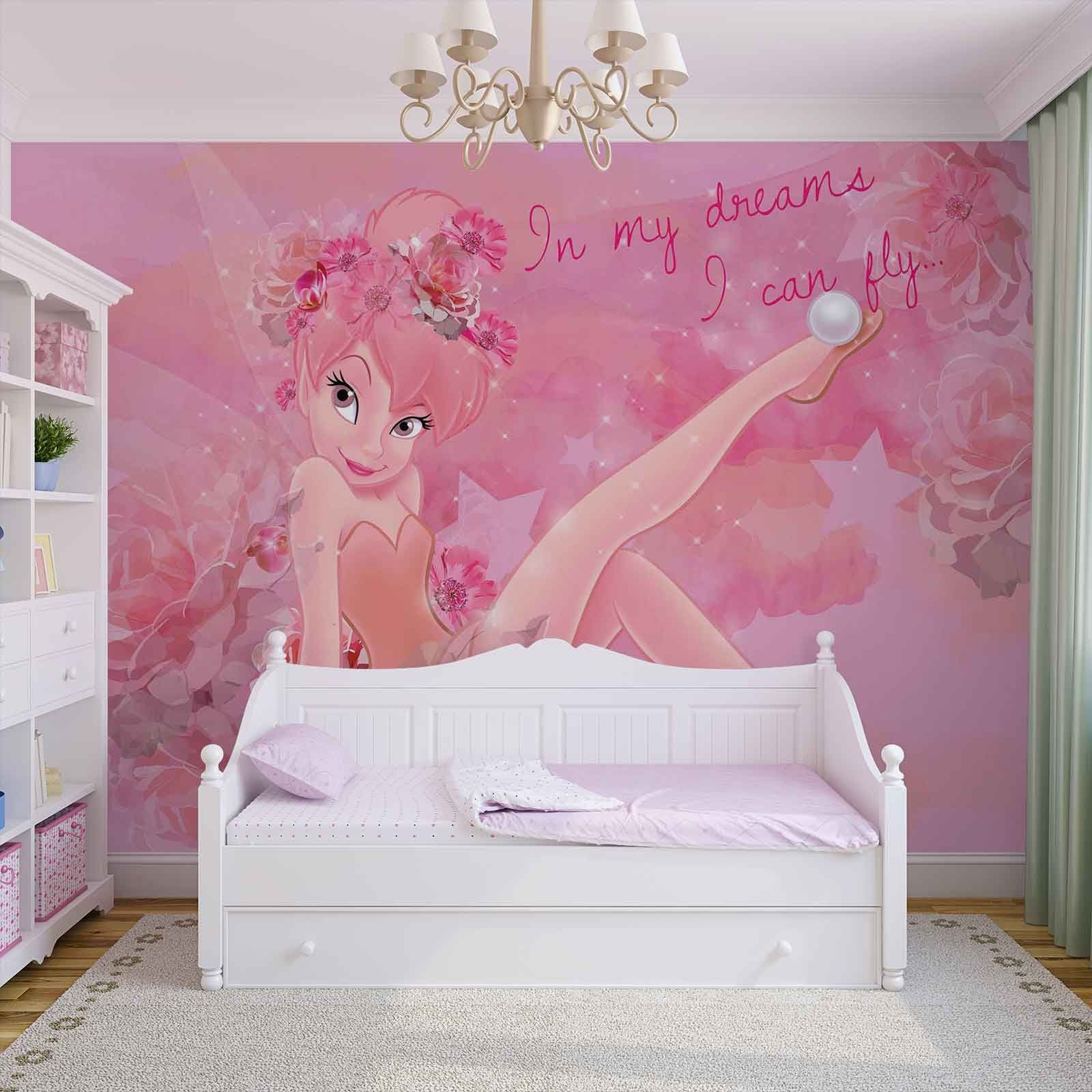 Disney fairies pink wallpaper mural homewallmurals shop for Disney wall mural uk