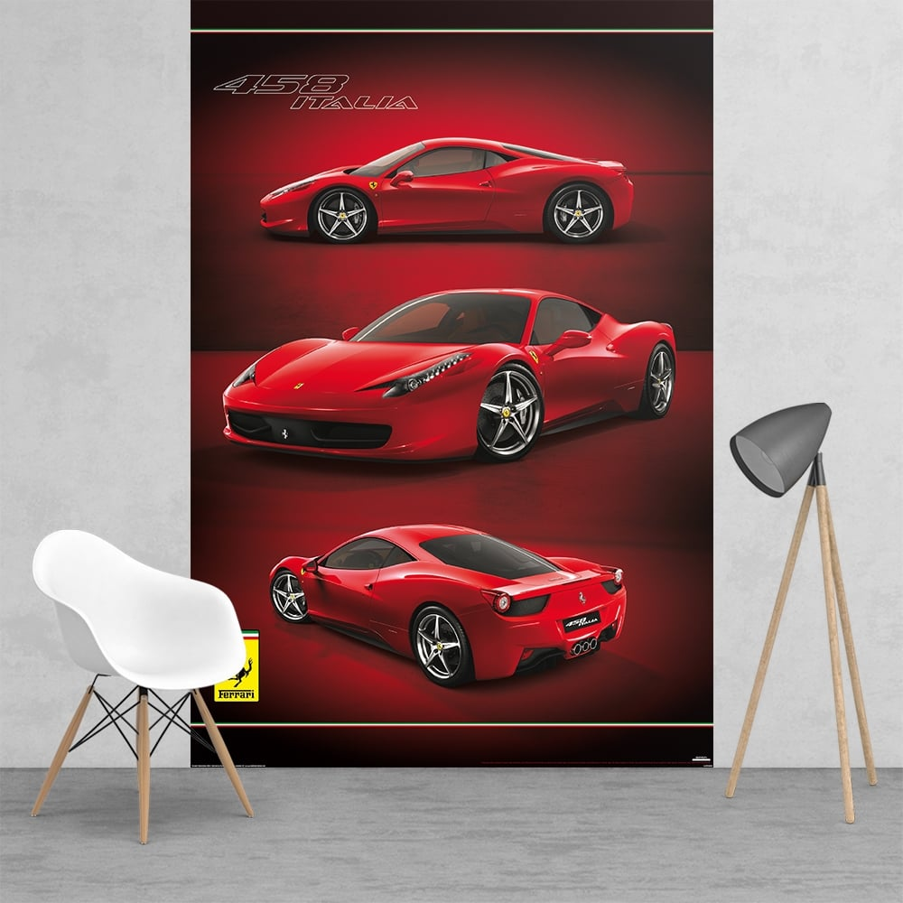 Wall mural photo wallpaper ferrari super red sport car for Disney cars wall mural full wall huge