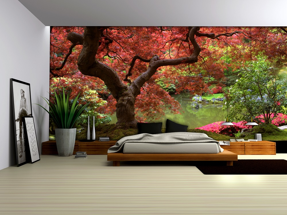 Red tree wallpaper murals by for Wallpaper decor