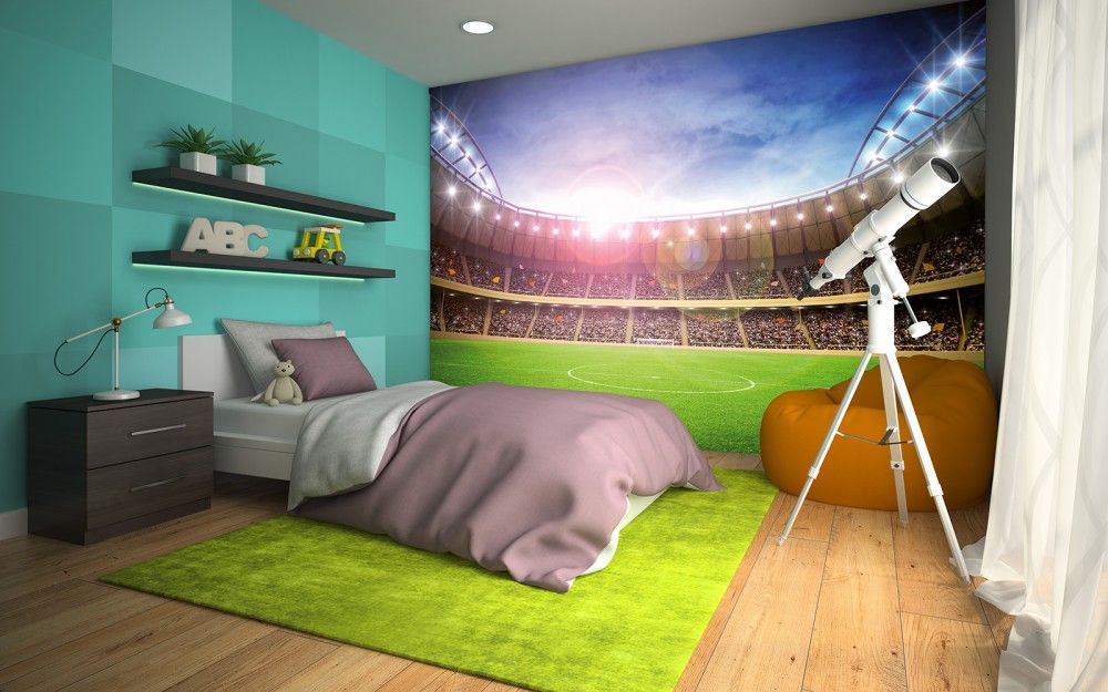 Football Stadium 2 Wallpaper Mural: Football Stadium At Night Wall Mural Wallpaper