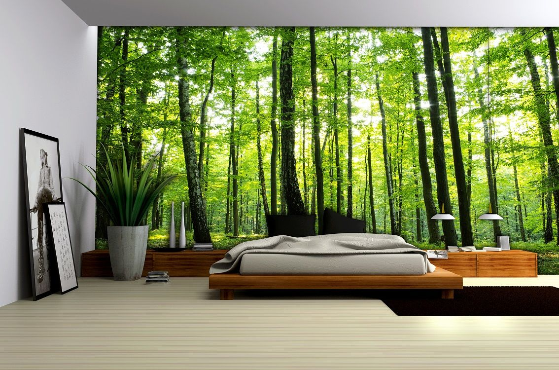 Bedroom forest wallpaper murals by for Designer wallpaper mural
